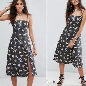 Free people midi bird print dress